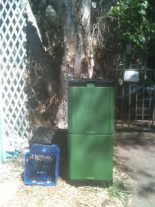 New 200 litre compost bin - a bit (~ 100mm) wider than a milk crate